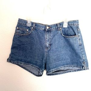 CALVIN KLEIN JEANS high rise denim jean shorts-14